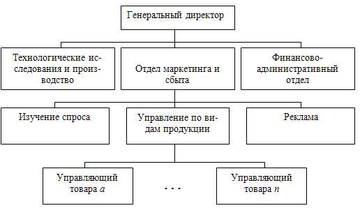Структура организации, ориентированной на виды товаров
